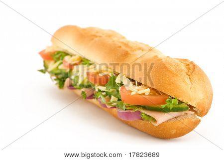 Fresh ham & cheese salad French stick