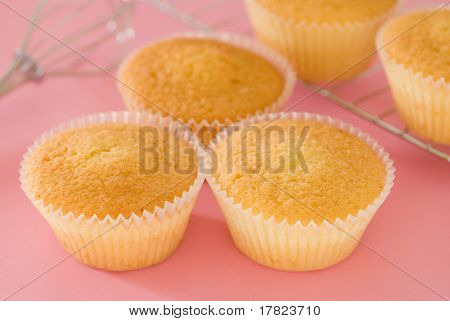 Home baked cakes in a pink setting