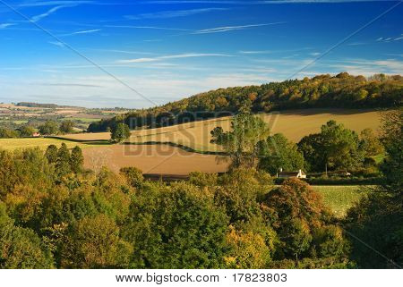 View over the Shropshire hills during Autumn