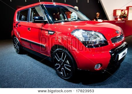 Moscow, Russia - August 25:  Red Car Kia Soul At Moscow International Exhibition Interauto On August