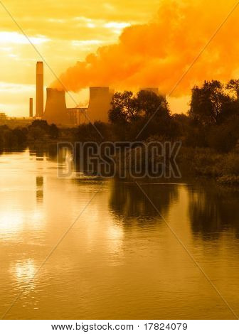 Global warming concept with power station emissions
