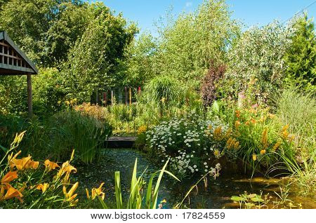 Quaint English cottage garden with pond and a variety of plants and flowers