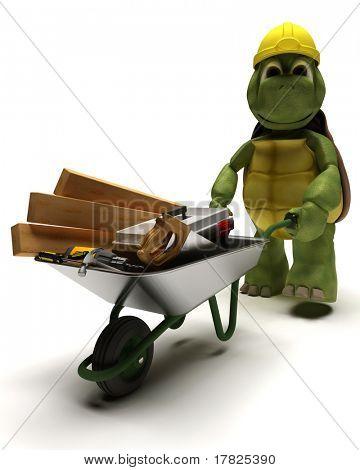 3D render van een schildpad Builder met een wiel barrow uitvoering van hulpprogramma 's