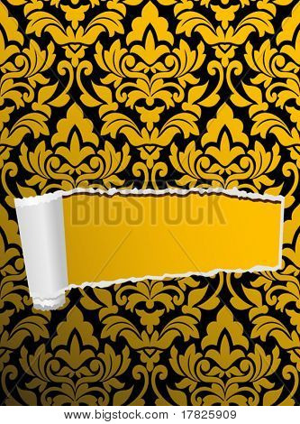 Damask seamless background with hole for design