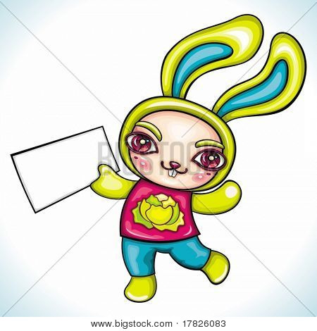 Cute rabbit holding blank paper. Funny cheerful character with space for your text