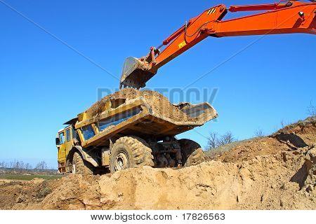 Backhoe Loader Loading Dumper