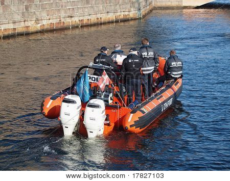 Danish Policemen On Boat
