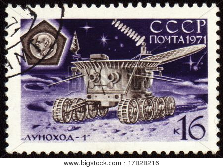 Post Stamp With Soviet Moon Machine Lunokhod-1 On Lunar Surface