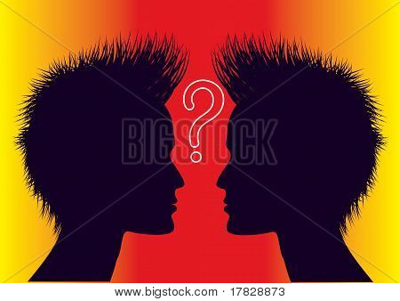 Vector Human Head With Question Mark.color Symbol