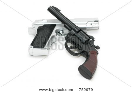 Two Guns Isolated On The White Background