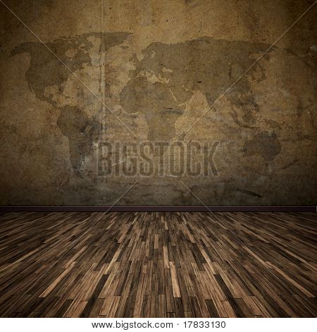 An image of a nice floor with a world map