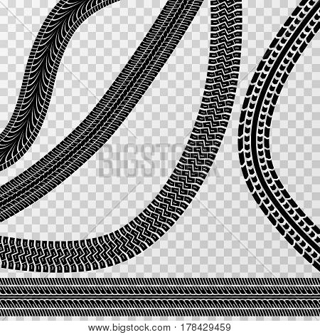 Different tire car and bike tracks isolated on checkered background - vector stock. Effect tire car tracks, illustration of messy tracks from car or moto tire