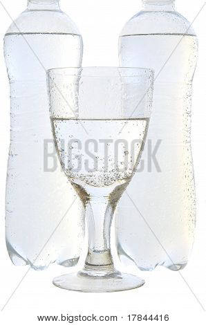 Mineral Water In A Glass And Bottles