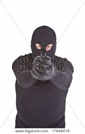 Robber Aiming With His Gun