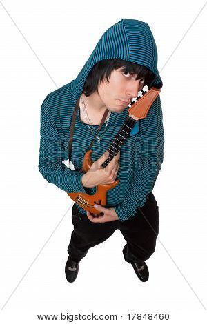 Bizarre Young Man With A Little Guitar