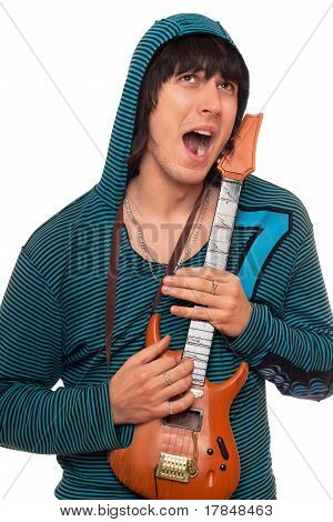 Crazy Young Man With A Little Guitar