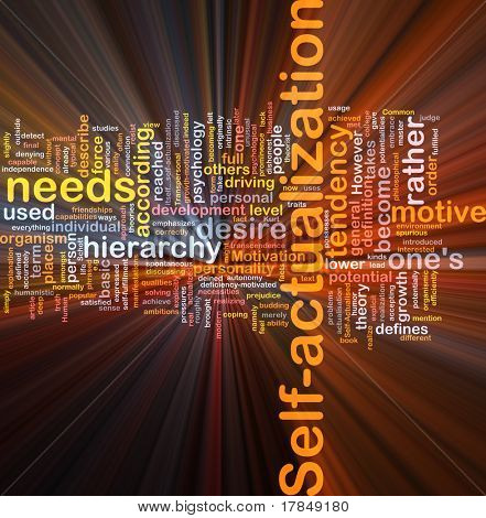 Background concept wordcloud illustration of self-actualization glowing light