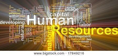 Background concept wordcloud illustration of human resources glowing light