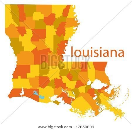 vector map of louisiana state, usa