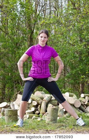Beautiful Woman In Sportswear Outdoors