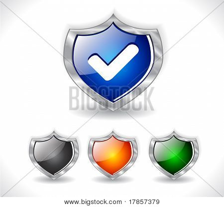 Shields with web icon. Vector.