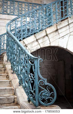 Medieval staircase of a church in Saint-Jean-de-Luz France