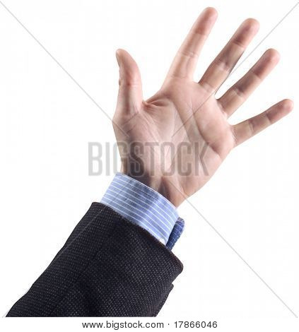 Male hand opened with dark jacket and blue shirt.