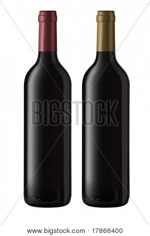Isolated bottles of red wine ready for pasting labels. Clipping path included.