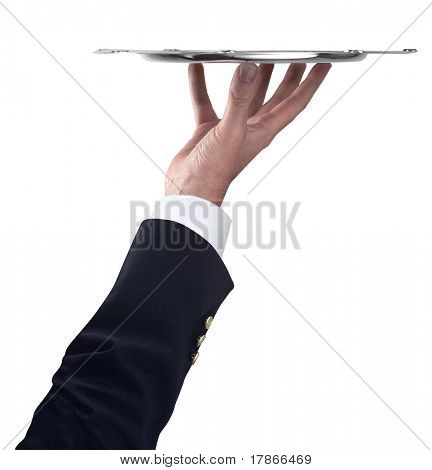 Waiter holding empty silver tray isolated with clipping path