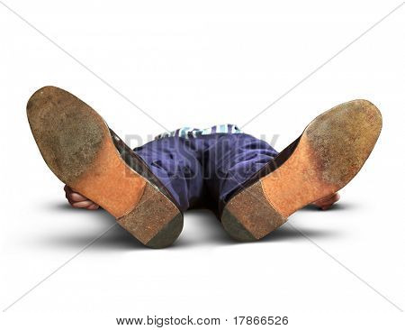 exhausted or dead man lying on the floor