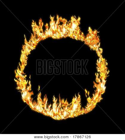 Fire ring constructed with several flames and retouched in a photo-editing application