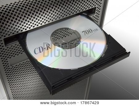 A CD in the CD-player of a computer.