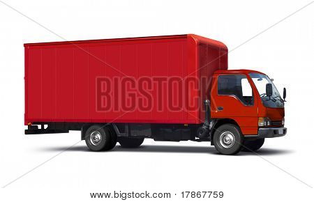 Red transport truck isolated on white.