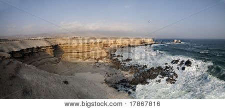 Panorama of the desert coastline in Antofagasta in the northern part of Chile in South America