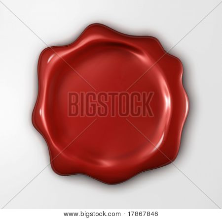 Wax seal with blank field (3D rendered illustration)