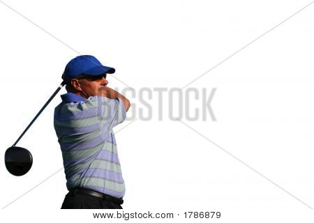 Close Up Of Golfer Teeing Off On Isolated White Background With Copy Space