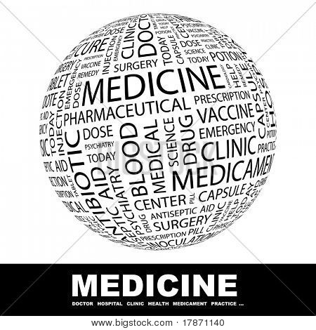 Medicine. Globe with different association terms. Wordcloud vector illustration.