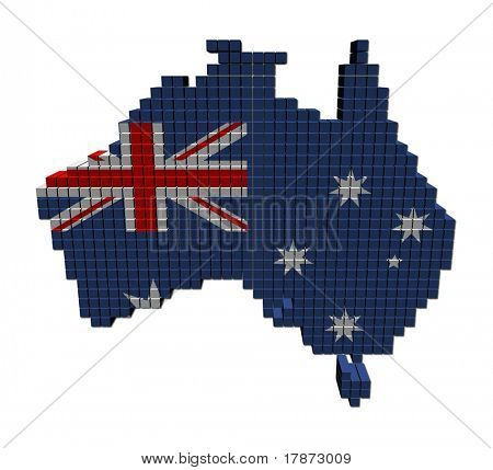 Australia map flag made of containers illustration