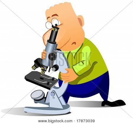 Funny man with microscope.