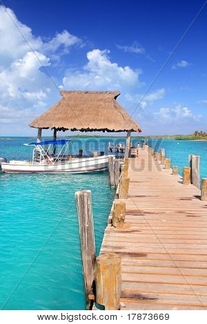 Contoy island Mexico wood pier palapa nature reserve