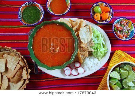 pozole mayan yucatan Mexican soup chili sauces nachos Mexico food