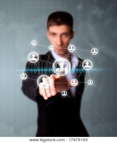 Man Pressing Social Network Icon