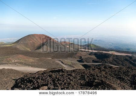 Two Craters On The Base Of Mt. Etna With Sea And Towns Beneath, Lipari, Sicily, Italy