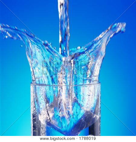 Pouring Water In Glass With A Splash