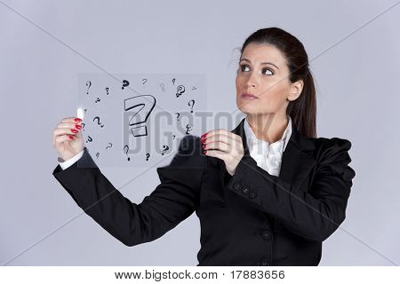 Businesswoman holding a acetate with lots of question marks