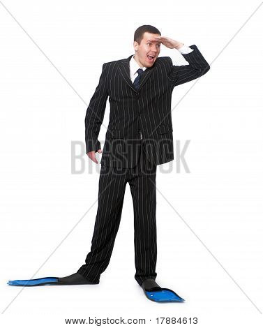 Man In A Business Suit And Flippers For Swimming