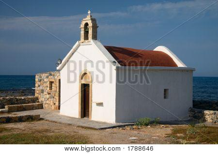 Old White Church On Sea Coast