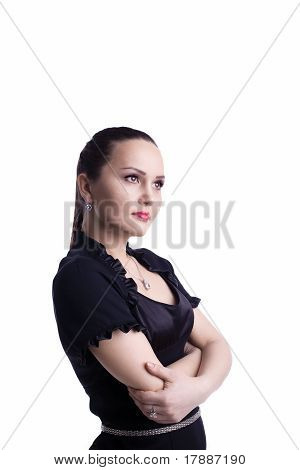 Casual woman in black suit look forward
