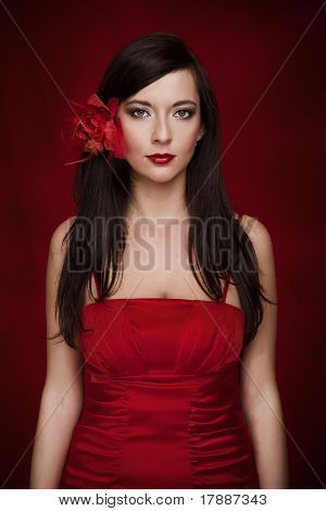 Passion Sensual Beautiful Girl In Red Clothes