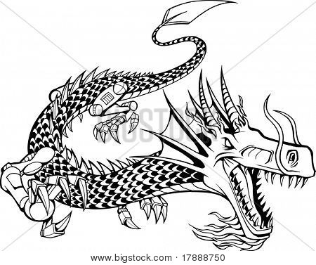 Vector Illustration of a Cyborg Dragon
